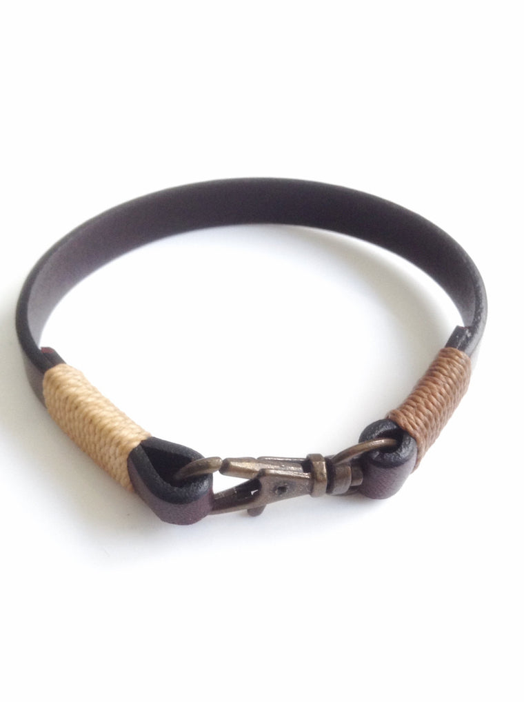Brown Leather Mens Bronze Clasp  Bracelet - Pulseras de cuero
