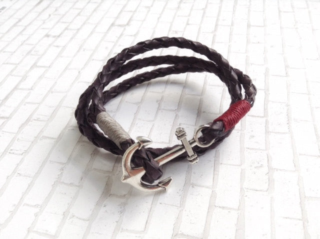 Brown Braided Leather bracelet - Nautical Bohemian Wristband