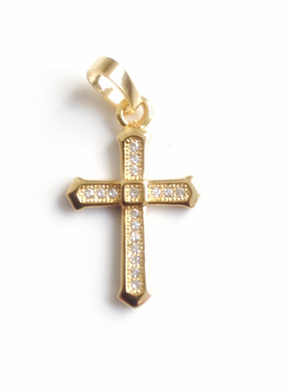 Cross Necklace Gold Plated Chain Gold Plated rhinestone cross pendant cross jewelry christian jewelry christian cross gold gift crucifix