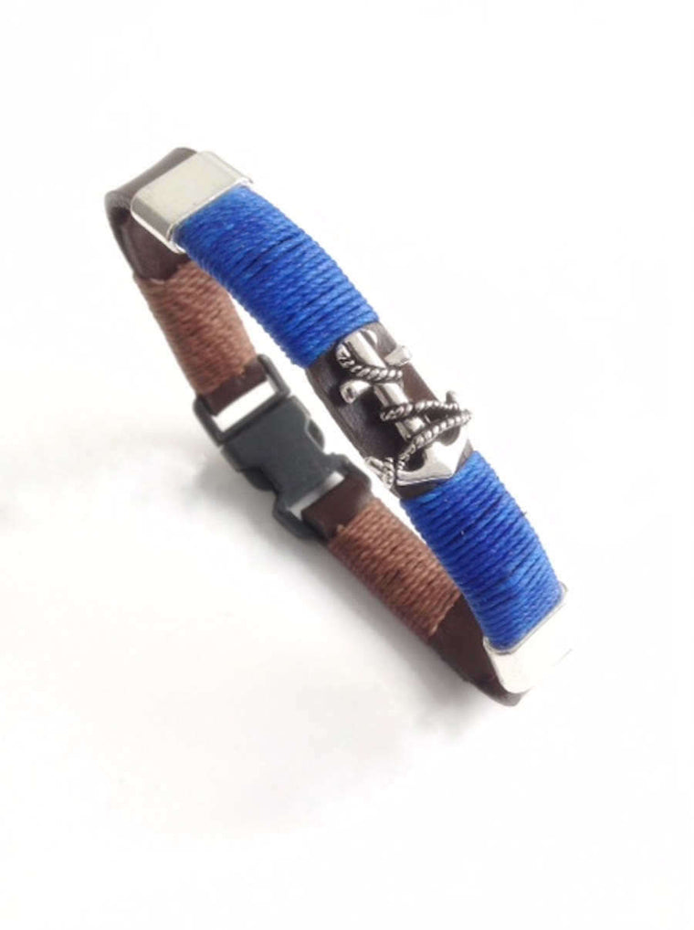 Sailing Bracelet - Anchor Jewelry - Brown Leather mens bracelet