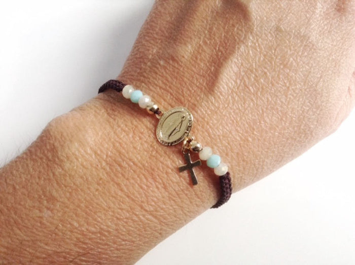 Miraculous Medal Bracelet, Birthday gift, Mother's day gift idea, religious gifts, Virgin Mary Jewelry, Santos Catolicos, Holy Mother Mary