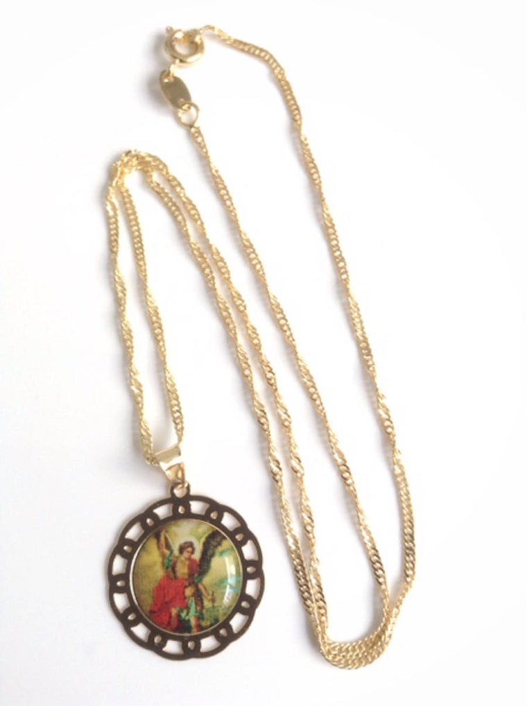 Religious Gifts Archangel St Michael Small Medal Necklace