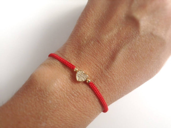 Cubic Zirconia Heart Bracelet Girlfriend Gift Love Bracelet Love You adjustable red bracelet Valentines day gift His Her Valentine Jewelry