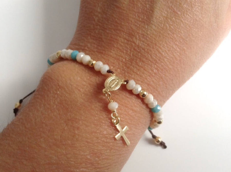 Rosary Bracelet for woman, Delicate Crystal Rosary Style Bracelet, First Communion gift, Rosary Bracelet gold, Catholic Rosary Bracelet