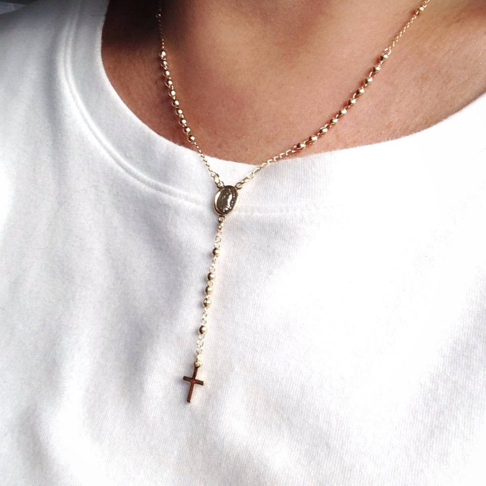 Our Lady of Guadalupe Cross Rosary Necklace 18K Gold Plated