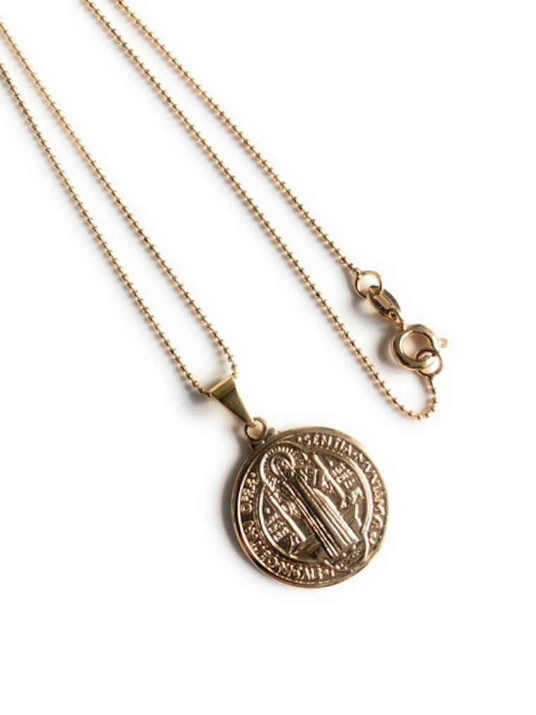 Gold St. Benedict Medal Pendant Necklace, Tiny Gold Plated Chain, San Benito Necklace, Medalla San Benito, catholic religious jewelry
