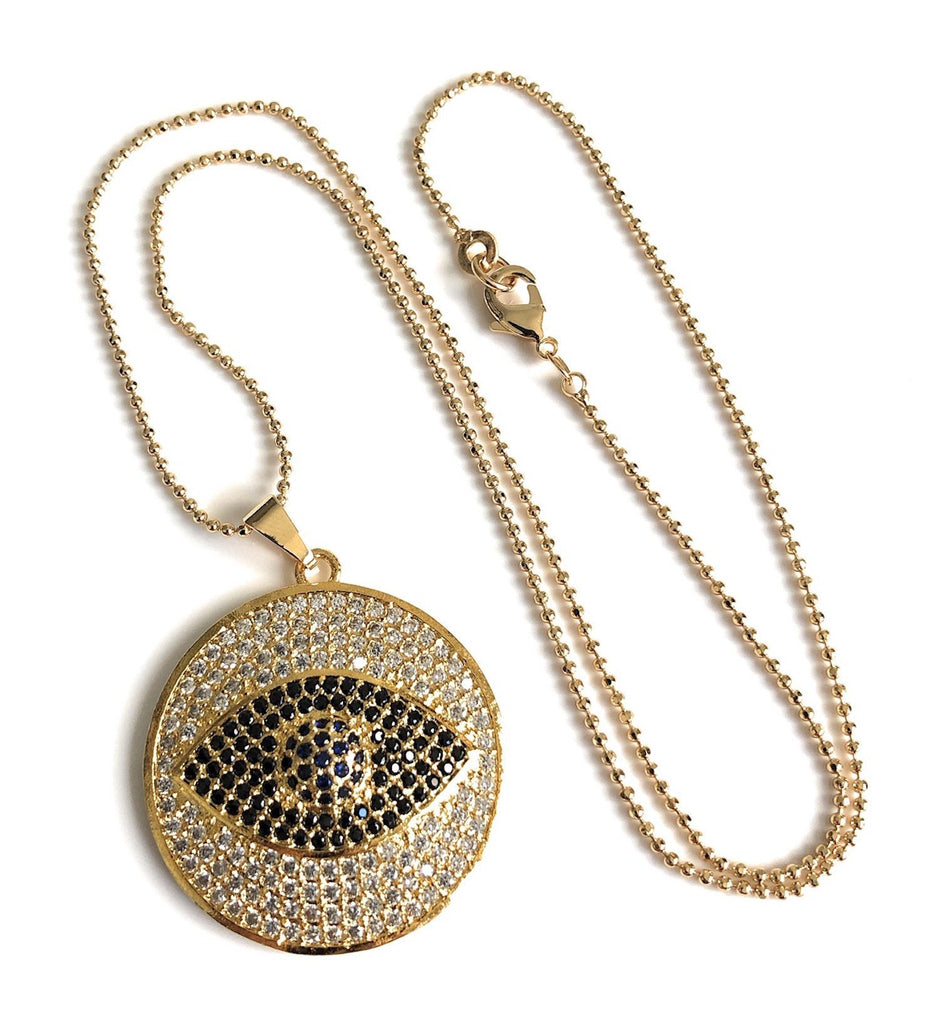 Big Evil Eye Cubic Zirconia Pendant Necklace 17.5 Inches Ball Chain