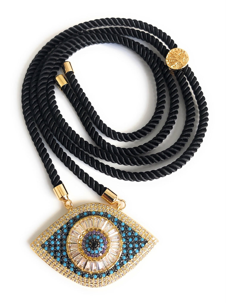 Black Cord Evil Eye Adjustable Necklace
