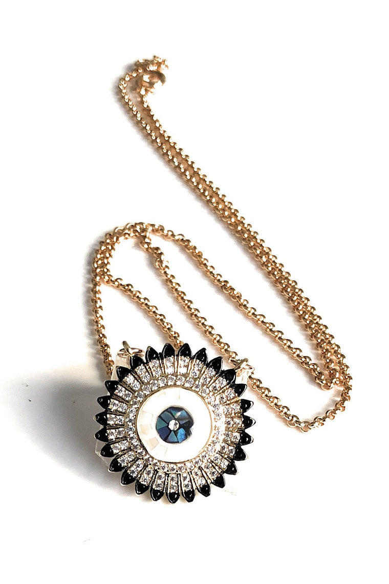 Circular Cubic Zirconia Evil Eye Necklace