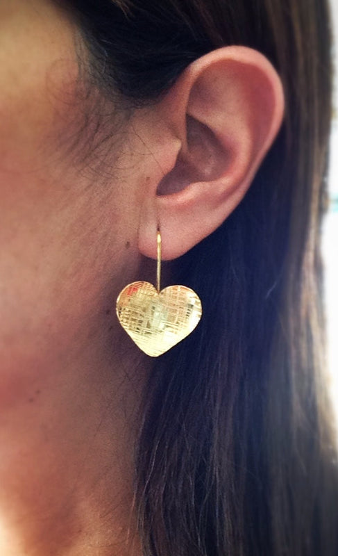Heart Earrings Silver Heart earrings, Gold Heart Dangle Earrings hand hammered , Big Heart Earrings, Dangle gold Earrings, Silver Heart