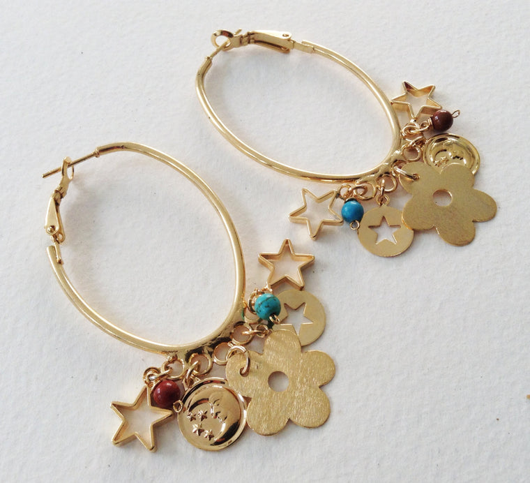 Gold Dangle Bohemian Earrings
