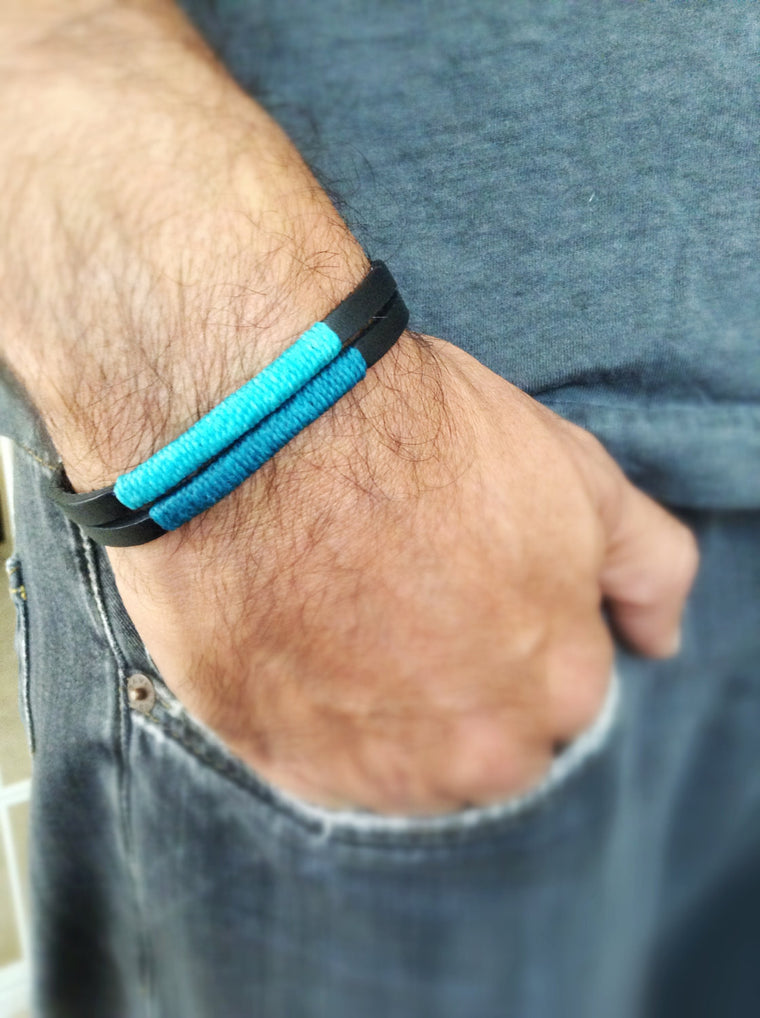 Black leather mens bracelet decorate with Turquoise wax nylon cord