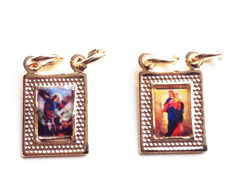 Scapular Necklace, Short Pearl Rosary, Gold Saint Michael Archangel and Virgin of Carmine Pendant, Gold filled, Christian religious jewelry