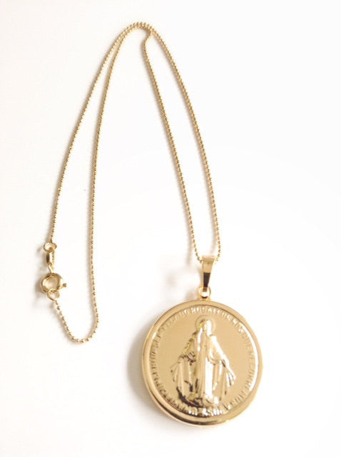 BIG Miraculous Medal Necklace - Gold Virgin Mary pendant - Medalla Virgen de la Milagrosa