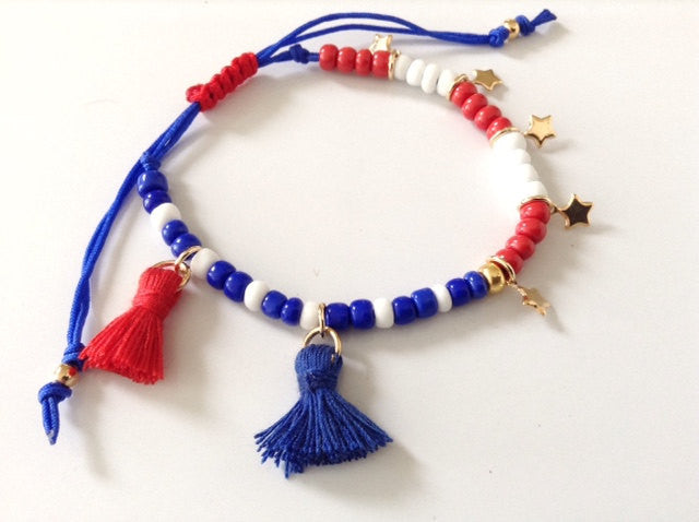 4th of July jewelry patriotic bracelet -  American flag bracelet