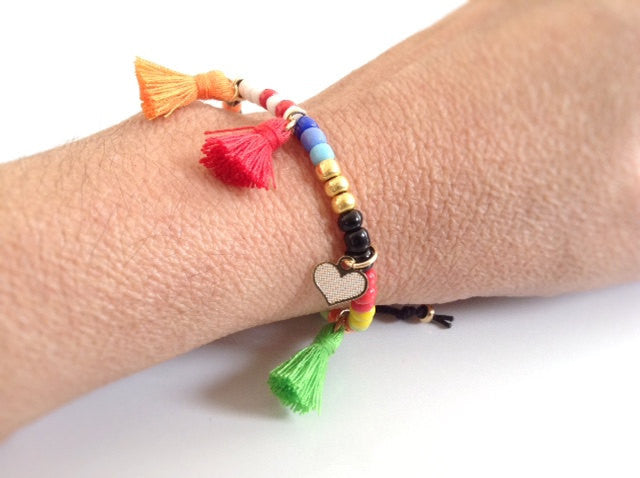 colorful seed beads tassel bracelet