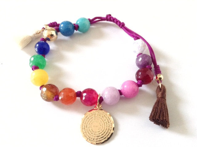 Our father prayer rainbow Bracelet - Colorful beaded bracelet - Bohemian woven tassel bracelet - catholic gift