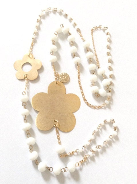 Flower Jewelry Long Necklace