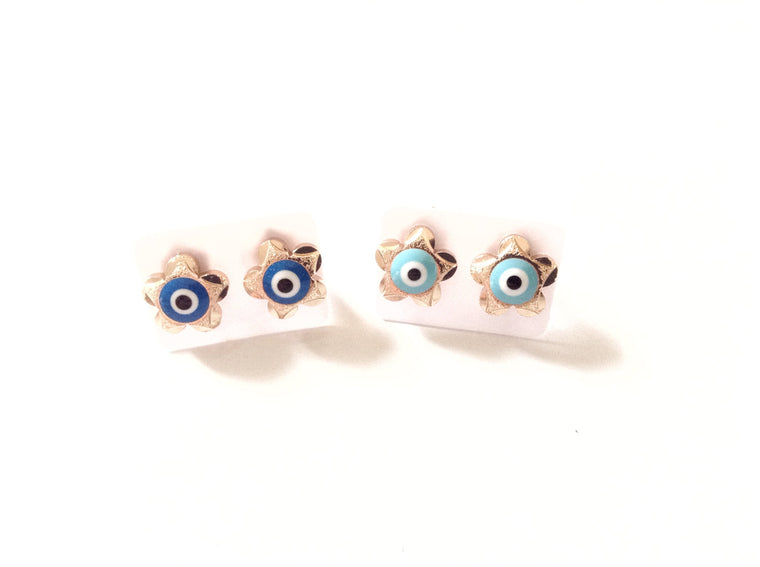 Blue Evil Eye Stud Earrings