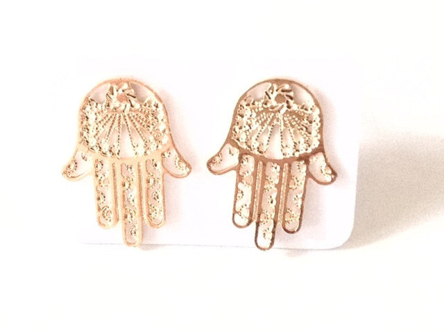 Hamsa hand gold stud earrings