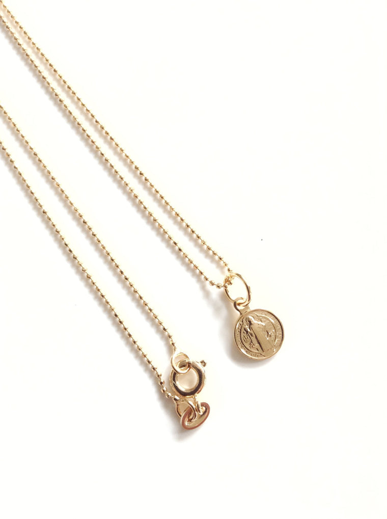 Dainty St Benedict Medal Pendant Necklace - Tiny Gold plated Chain - Religious jewelry - Santos