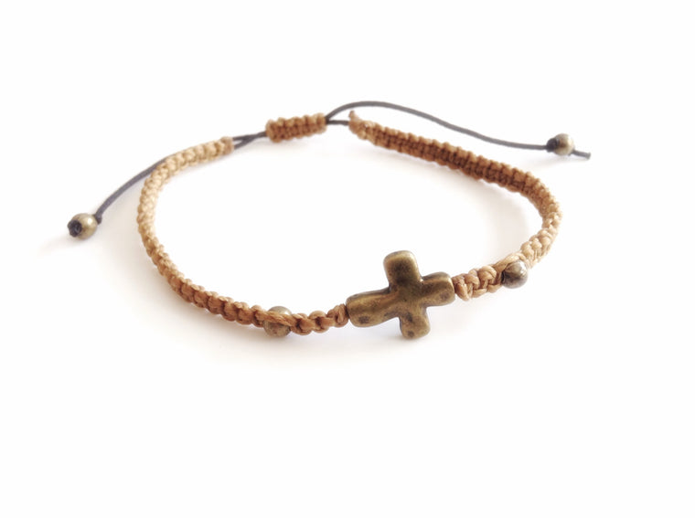 Brass Cross bracelet Men - Friendship bracelet - summer beach knotted bracelet