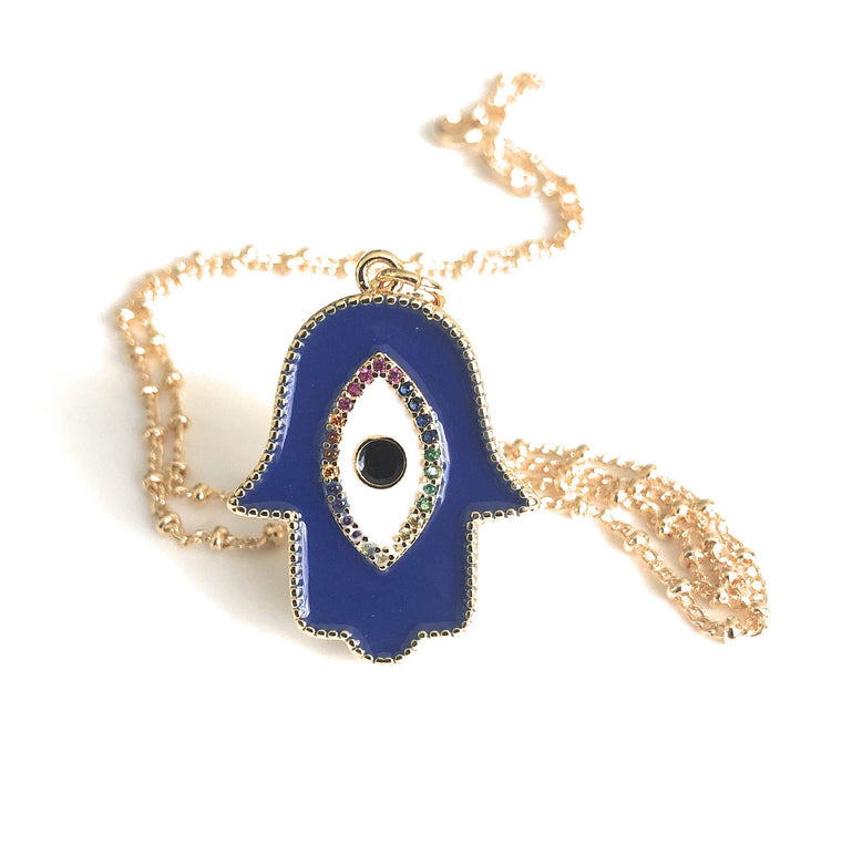 Enamel Trendy Jewelry Hamsa Hand Evil Eye Pendant Necklace