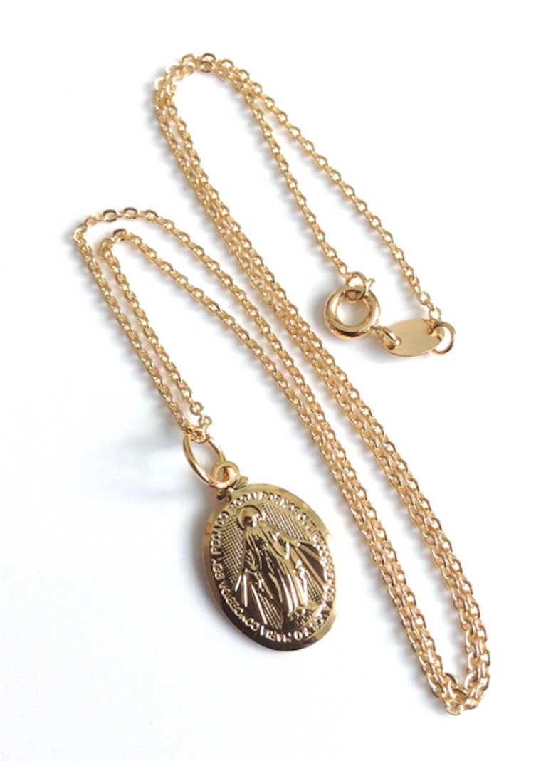 Gold Miraculous Medal Necklace for Women