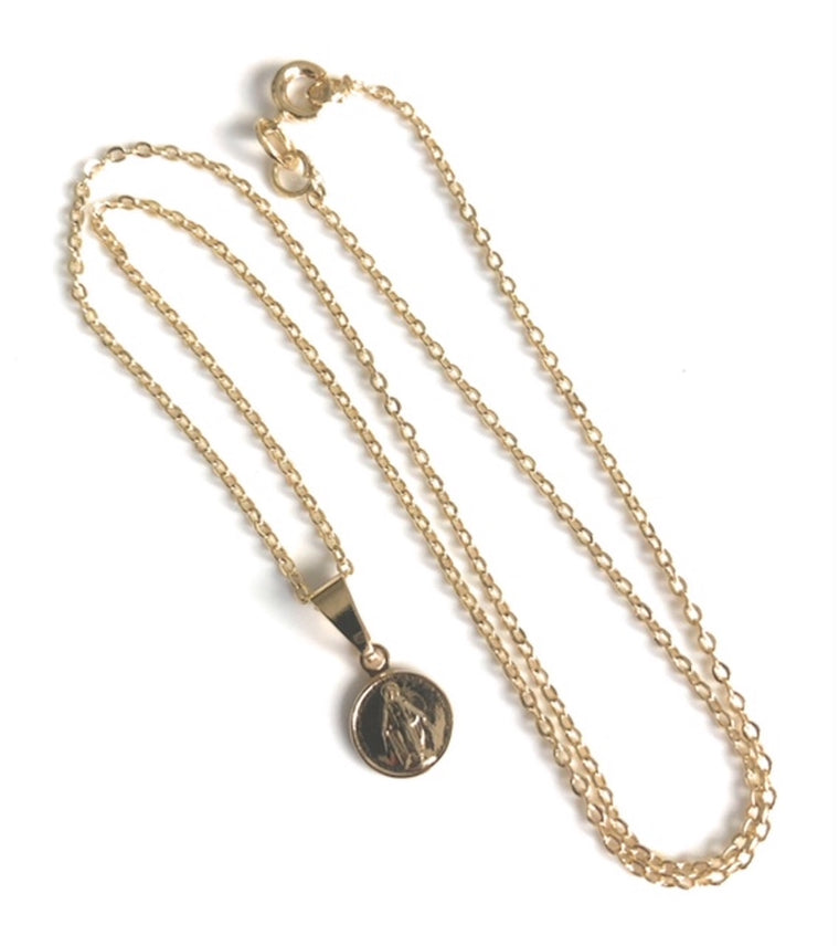 Dainty Miraculous Round Medal Necklace Gold Plated Chain