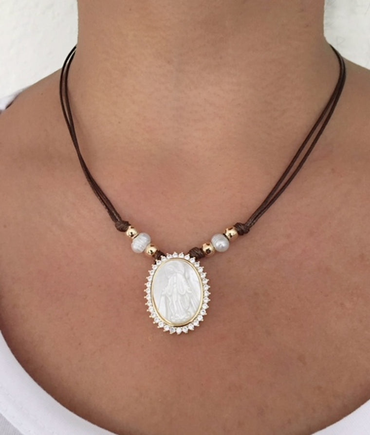 Mother of Pearl Miraculous Medal Brown Choker Necklace
