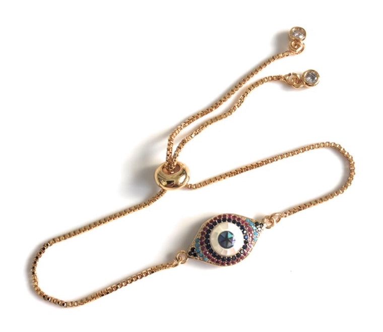Evil Eye Bolo Bracelet for Women Adjustable Fashion Jewelry
