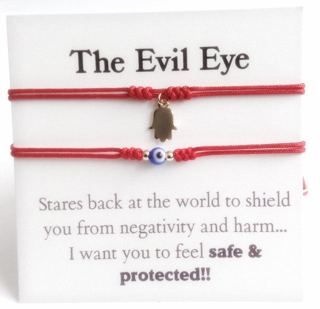 Red String couples bracelet set of 2 Evil Eye Hamsa Charms