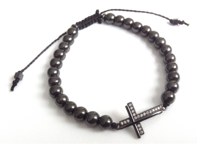 Hematite Sideways Cross Bracelet, Men beaded adjustable bracelet Cross Jewelry - Pulseras para hombre