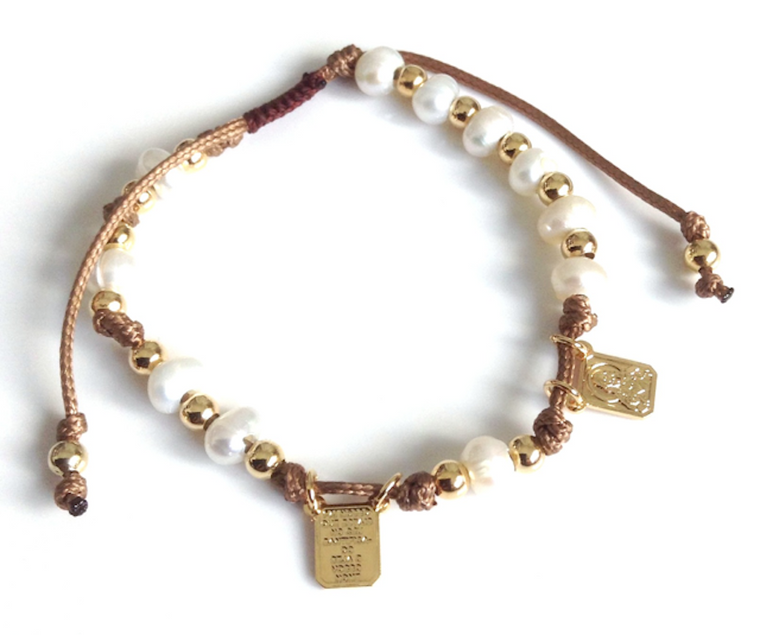 Brown Scapular Adjustable Pearl Catholic Bracelet