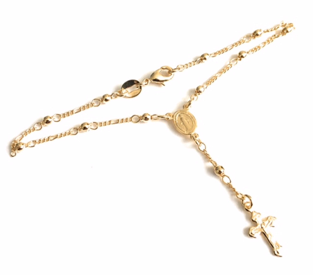 Small Rosary Bracelet 18K Gold Plated Ball Chain, Mini Rosaries