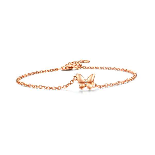 Butterfly collection 18k gold bracelet with diamond