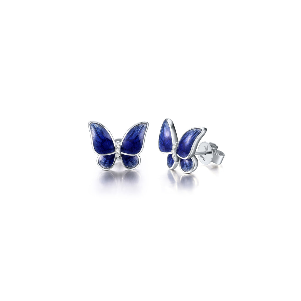Enamel collection 18k white gold diamond earrings