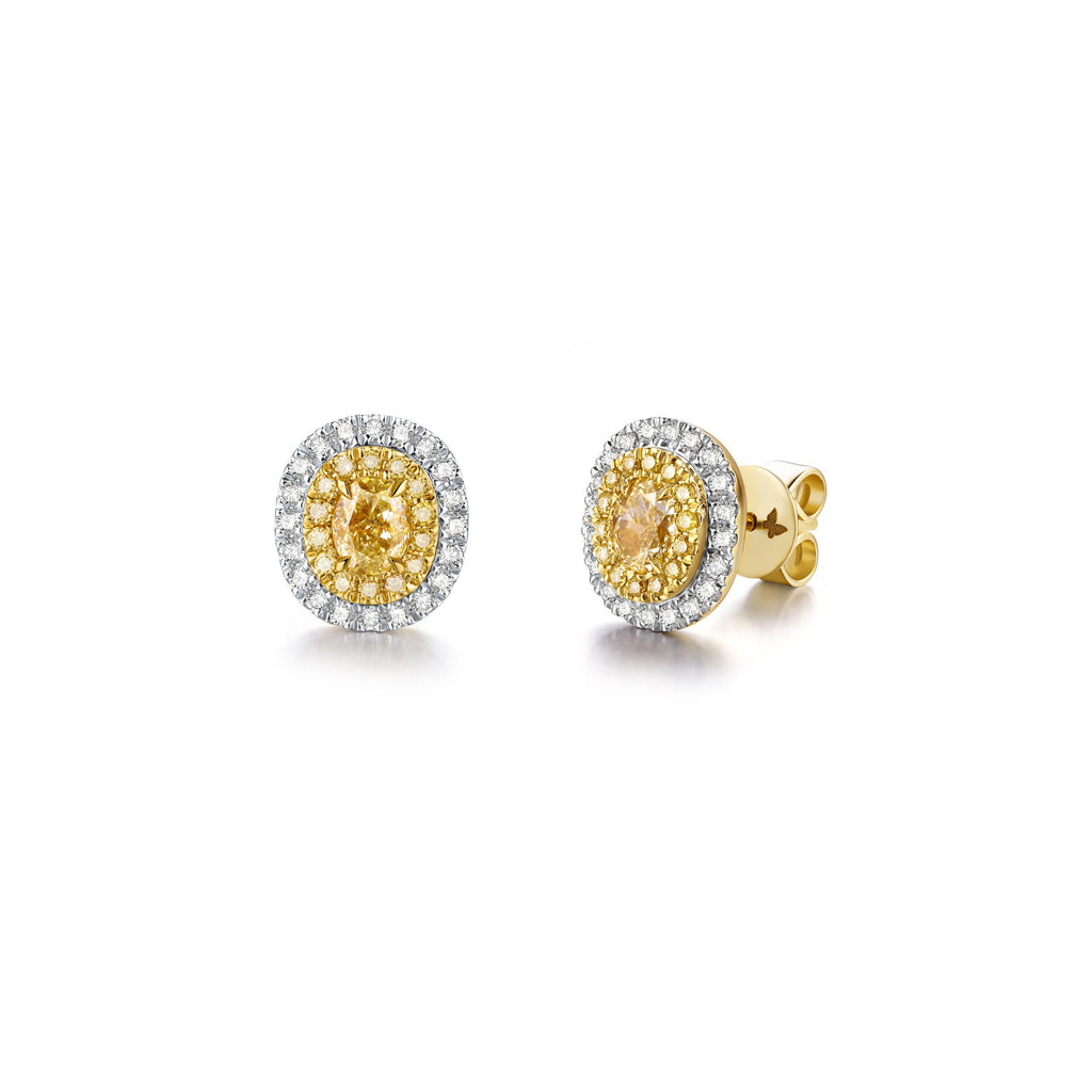 Coronation collection 18k white & yellow gold yellow diamond earrings
