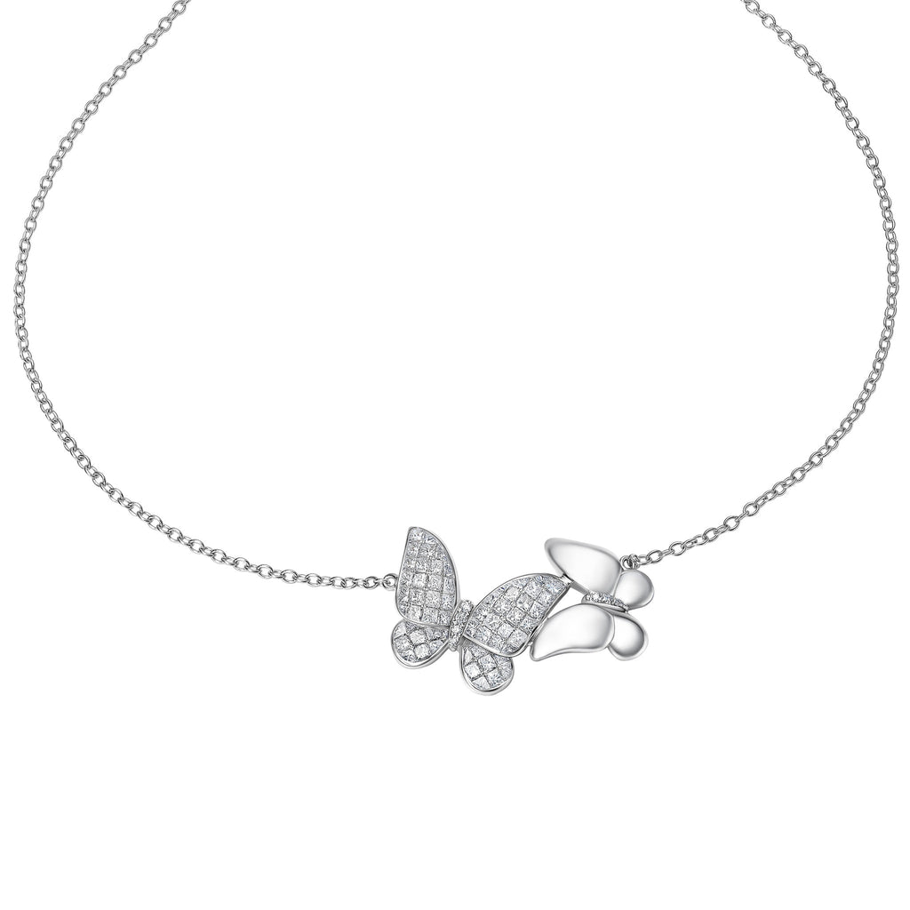 Butterfly collection 18k gold diamond necklace