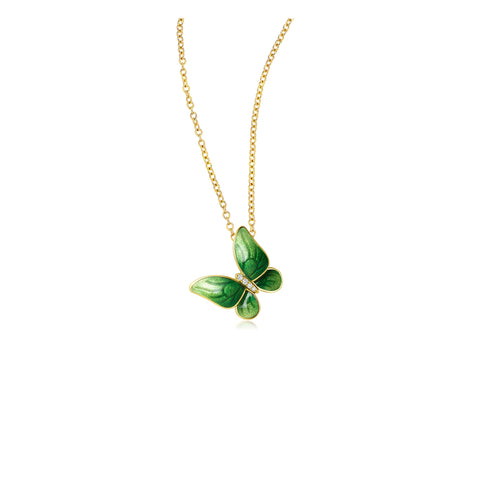 Enamel collection 18k gold diamond necklace