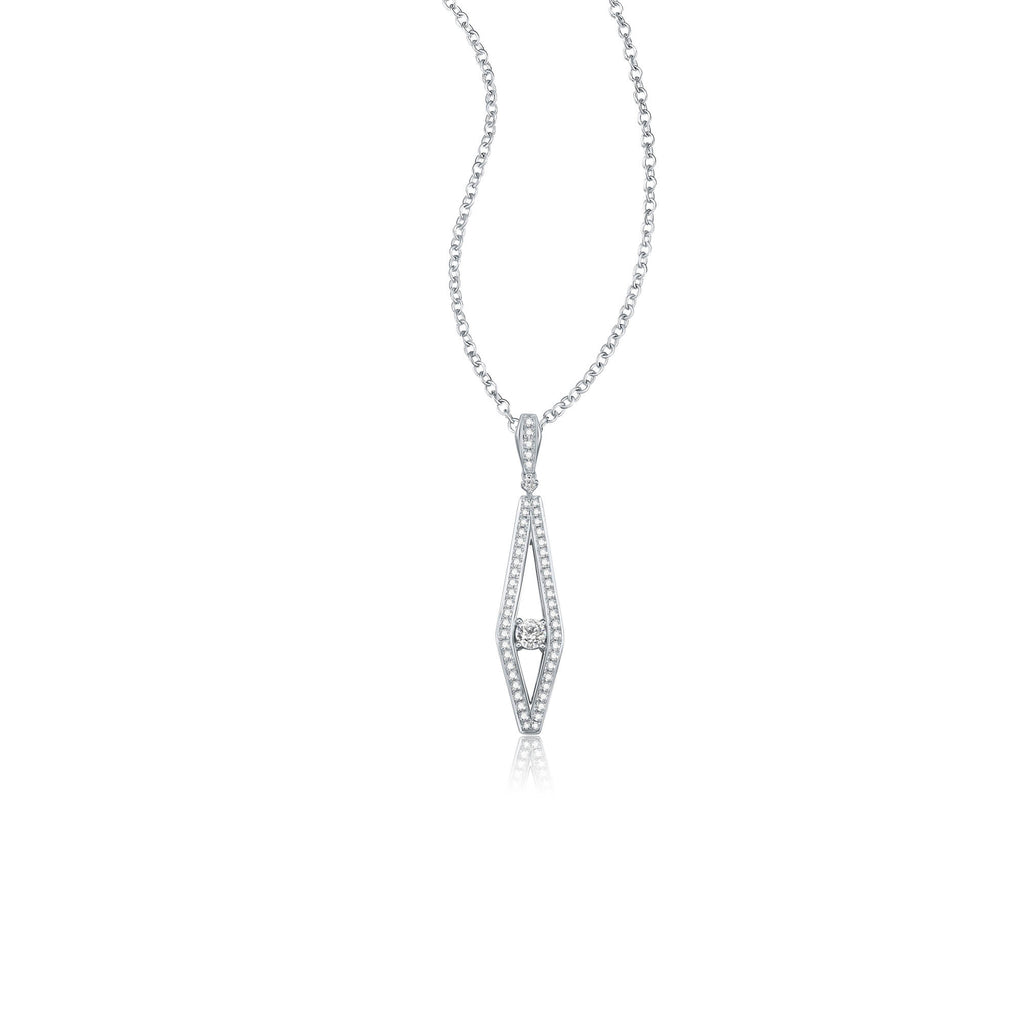 Wisdom collection 18k white gold diamond necklace