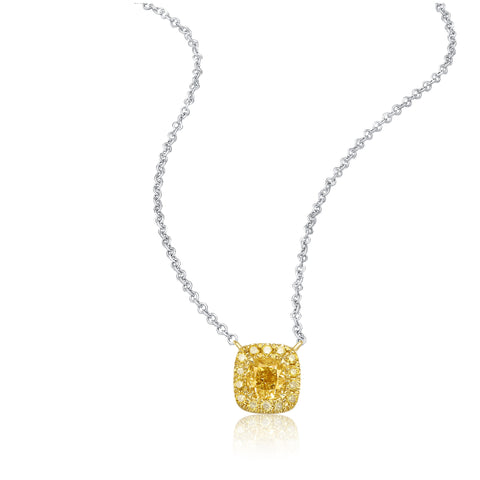 Coronation collection 18k white & yellow gold yellow diamond necklace