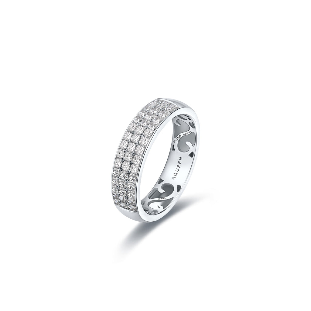 Ripple collection 18k white gold diamond ring