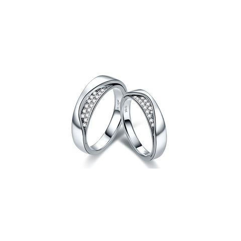 Unique collection 18k white gold wedding bands with diamond