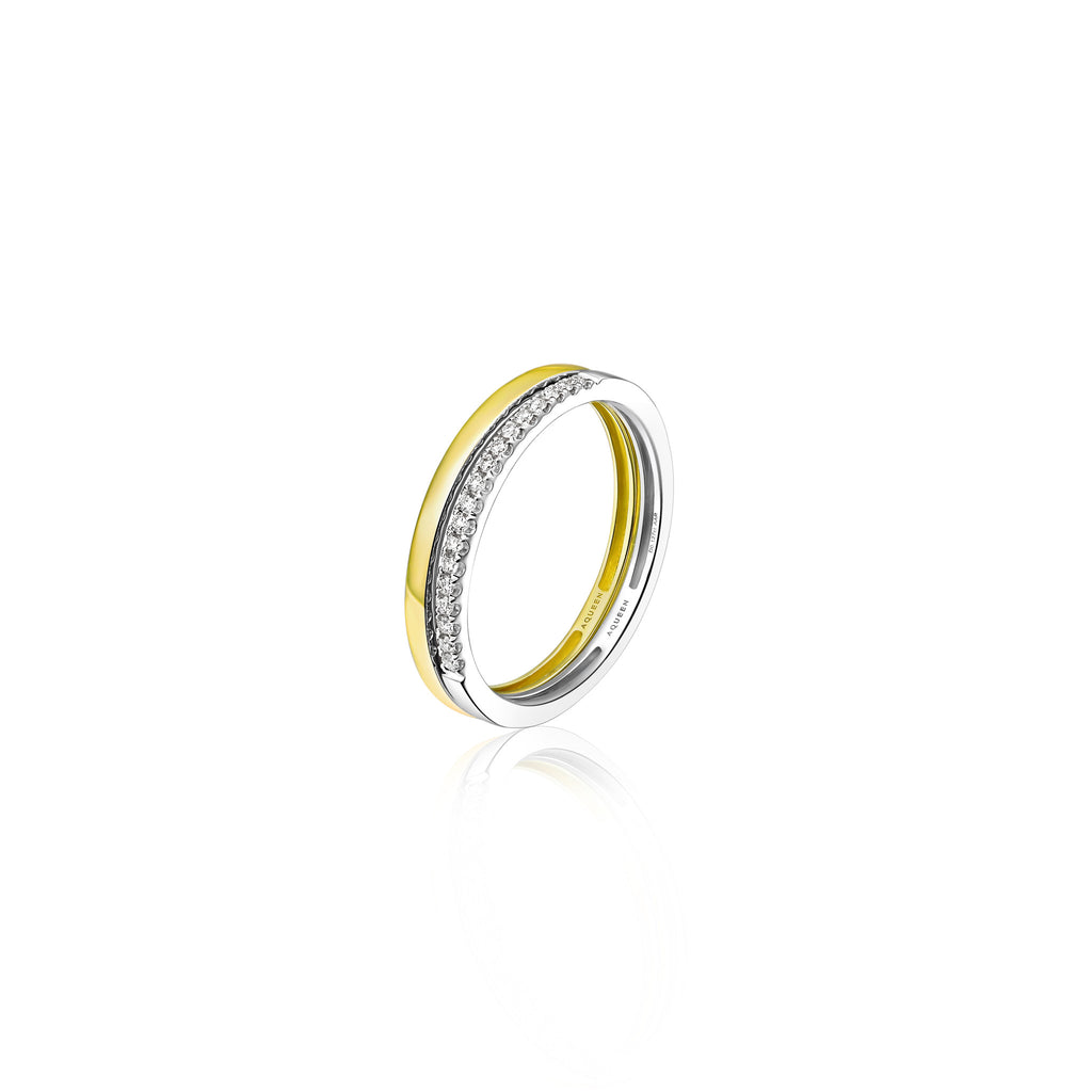 Ripple collection 18k yellow & white gold diamond ring
