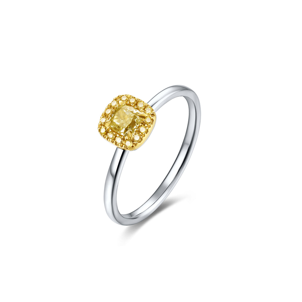 Coronation collection 18k white & yellow gold yellow diamond ring