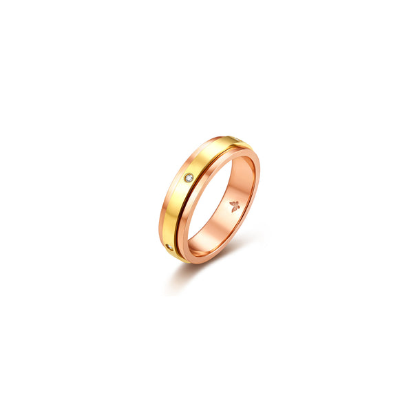 Unique collection 18k rose & yellow gold wedding Bands with diamond