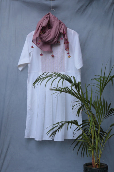 Hand Embroidered Linen Pleated Dress