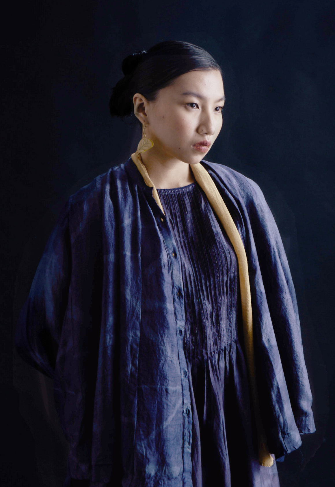 Clamp Dyed Mulberry Silk Paneled Shirt