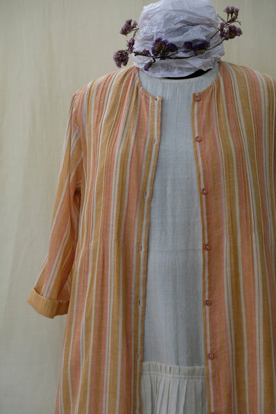 Khadi Gauze Pintuck Button-down Dress Peach
